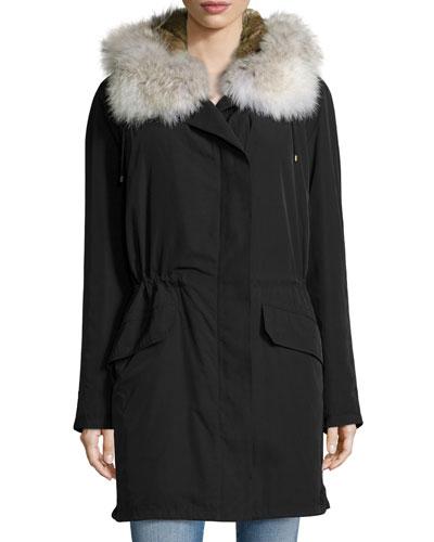 Parker Tech Fabric Fur-Trimmed Coat