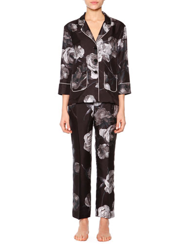 Floral-Print Two-Pocket  Satin Pajama Set