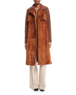 Belted Suede Combo Trenchcoat