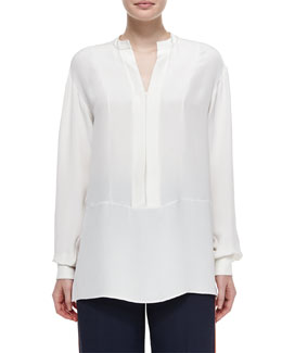 Split-Neck Bishop-Sleeve Blouse