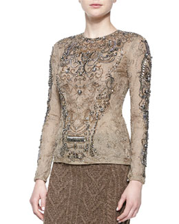 Long-Sleeve Embroidered Tulle Top
