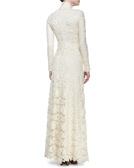 53a83cca4b9 Ralph Lauren Long-Sleeve Floral Lace Turtleneck Gown