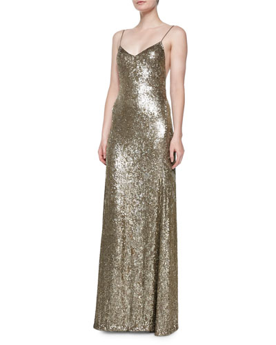 Darcy Beaded Silk Low-Back Gown