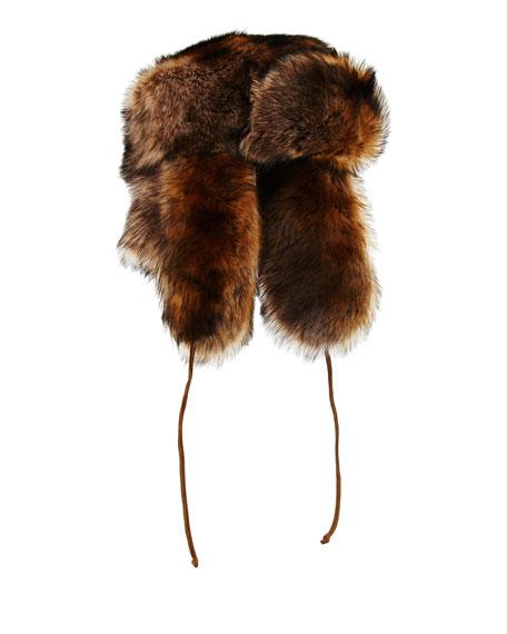 Ralph Lauren Suede   Shearling Fur Trapper Hat bf0c3086651