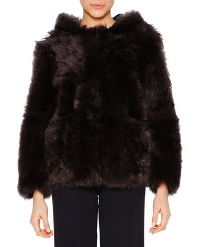 Reversible Shearling Fur Zip Hoodie