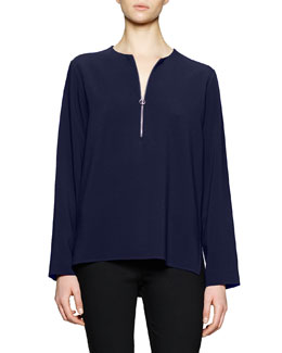 Zip-Front Long-Sleeve Blouse, Navy