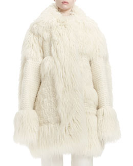 Patchwork Faux-Fur Mid-Length Coat
