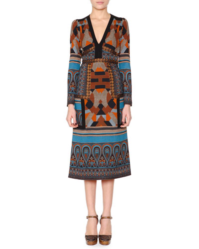 Geometric Paisley-Print Midi Dress