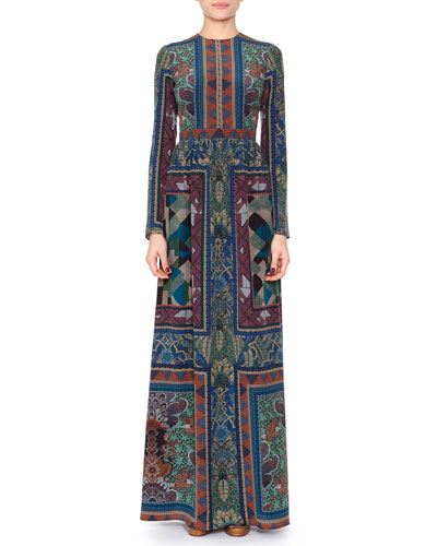 Geometric Quadrant Scarf-Print Maxi Dress