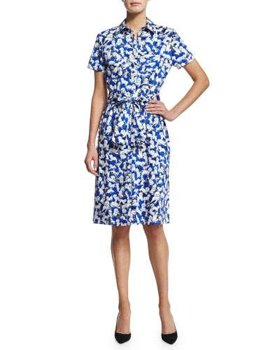 Gaspar-Print Short-Sleeve Shirtdress