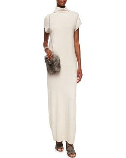 Turtleneck Dolman Cap-Sleeve Cashmere Gown
