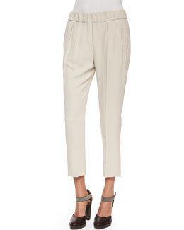 Pleated Crepe Cropped Pants, Stone