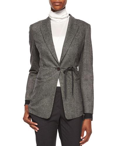 Tweed Blazer with Monili Cuffs