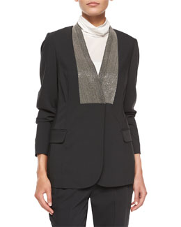 Monili Beaded Stretch-Wool Blazer