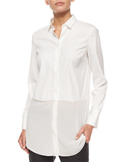 Long-Sleeve Silk-Hem Shirt, White