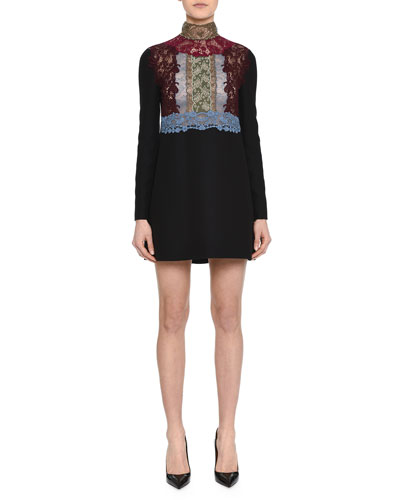 High-Neck Lace-Inset Shift Dress