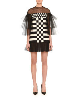 Tulle-Inset Geometric-Print Mini Dress