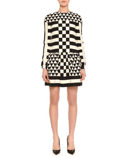 Long-Sleeve Jewel-Neck Geometric Squares Dress, Black/White