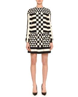 Long-Sleeve Jewel-Neck Geometric Squares Dress, Black/White