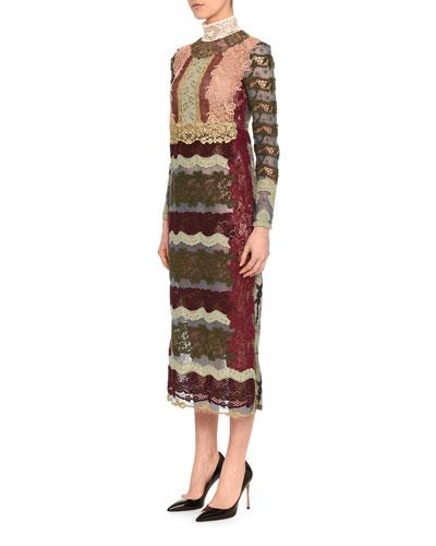 Striped Fusion Lace Midi Dress
