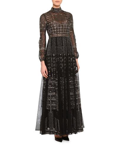 Long-Sleeve Chevron-Beaded Tulle Gown