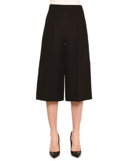 Center-Pleated Crepe Culottes