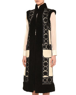 Floral-Embroidered Shearling Fur Gilet