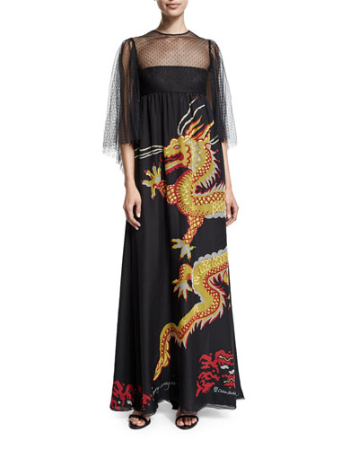Swiss-Dot Flutter-Sleeve Dragon Gown, Black