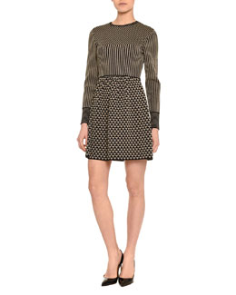 Metallic Geometric Knit Long-Sleeve Dress