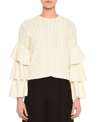 Voulant Tiered Cable-Knit Sweater