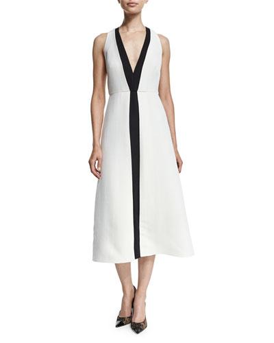 Sleeveless V-Neck Shantung Midi Dress