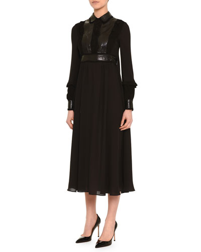 Snakeskin-Inset Point-Collar Dress