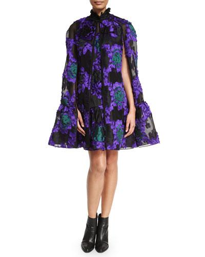 Angela Fil Coupe Flounce-Hem Cape, Purple