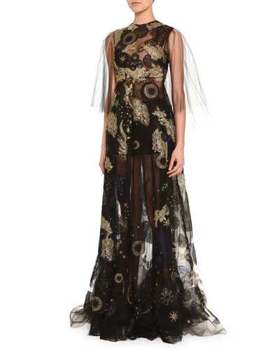 Cosmic-Embroidered Sheer Tulle Gown