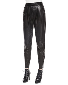 Belted Leather Front-Pleated Pants