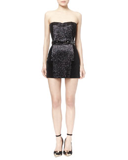 Strapless Beaded Velveteen Dress, Black
