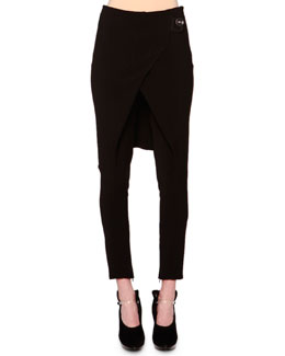 Overskirt Zip-Cuff Ankle Pants
