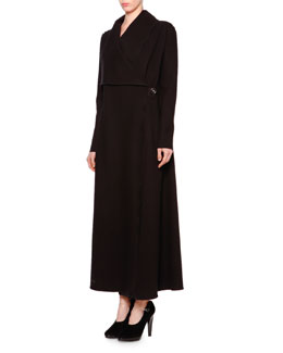 Long Asymmetric Single-Button Coat