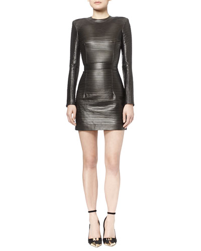 Crystal-Pleated Leather Mini Dress