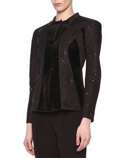 Beaded Velvet-Paneled Jacket