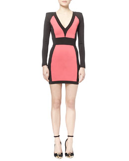 Colorblock Paneled Ponte Mini Dress
