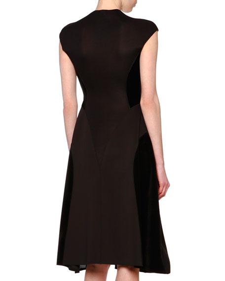 0ede7b4a769 Giorgio Armani Cap-Sleeve Velvet-Inset Flare Dress