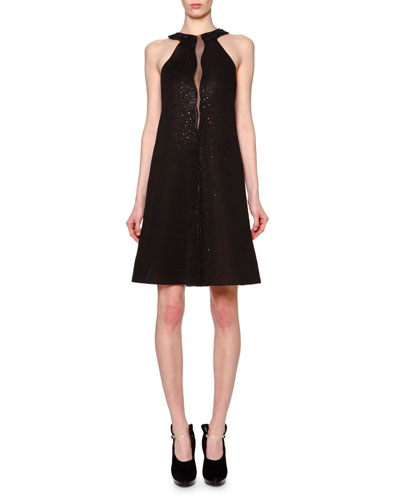 Swarovski® Crystal Sheer-Inset A-Line Dress