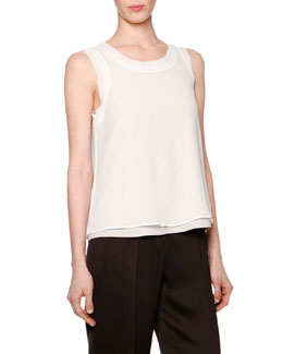 Sleeveless Layered Combo Blouse, Ivory
