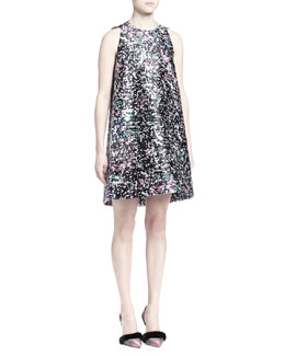 Graffiti-Print Satin A-Line Dress