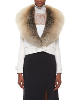 Gray Fox-Fur Collar Crop Jacket