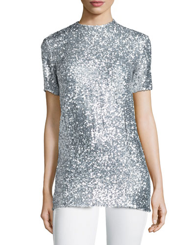 Allover Sequin Short-Sleeve Tee