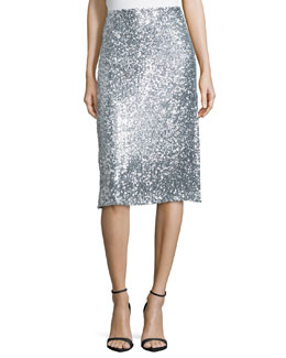 Allover Sequined Pencil Skirt