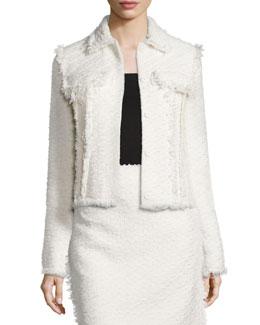 Fringe-Trimmed Tweed Double-Pocket Jacket