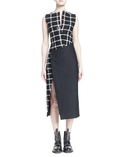 Check Tweed Faux-Wrap Dress